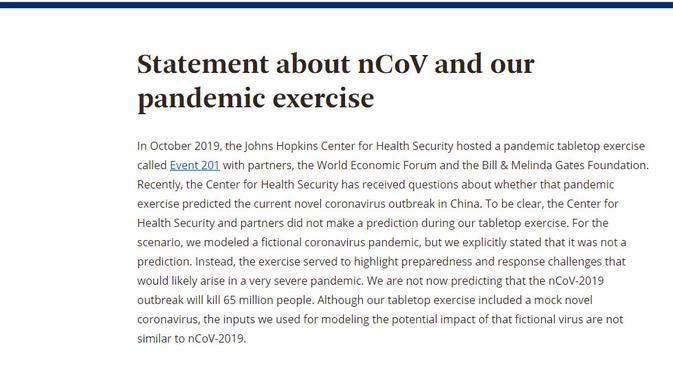Cek Fakta: Ahli Kesehatan Memprediksi Virus Corona 2019-nCoV Bisa Membunuh 65 Juta Manusia?  (www.centerforhealthsecurity.org)