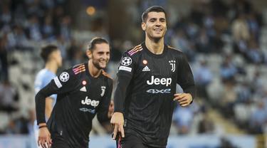 Juventus berhasil mengawali matchday pertama grup H Liga Champions 2021/2022 dengan kemenangan 3-0 saat bertandang ke Malmo FF. (Foto:  TT News via AP/Andreas Hillergren)
