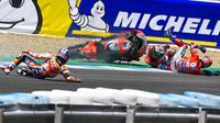 Jorge Lorenzo, Dani Pedrosa dan Andrea Dovizioso sama-sama terjatuh pada balapan MotoGP Jerez, akhir pekan kemarin. (MotoGP)