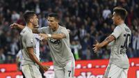 Rodrigo Bentancur mencetak satu gol untuk membantu Juventus menang 2-0 atas Udinese pada pekan kedelapan Liga Serie A Italia, Sabtu (6/10/2018). (AP Photo/Antonio Calanni)