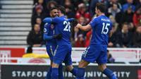 Riyad Mahrez dkk. menghuni peringkat kedelapan sebagai tim penghasil gol terbanyak di Premier League. Hingga pekan ke-11 Leicester City telah menciptakan 16 gol. (AFP/Paul Ellis)