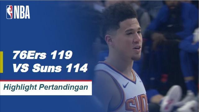 The 76ers naik 33 poin, 17 rebound dari Joel Embiid dan mengalahkan Suns 119-114. Devin Booker menurunkan 37 poin untuk Phoenix dalam kekalahan itu.