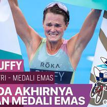 Berita video salah satu momen bersejarah di Olimpiade Tokyo 2020 yaitu saat atlet Bermuda, Flora Duffy, meraih medali emas di cabang olahraga trilomba (triathlon) putri pada Selasa (27/7/2021).
