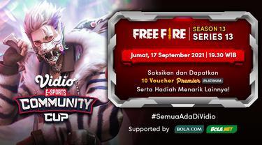 Jadwal dan Live Streaming Vidio Community Cup Season 13 Free Fire Series 13, Jumat 17 September 2021