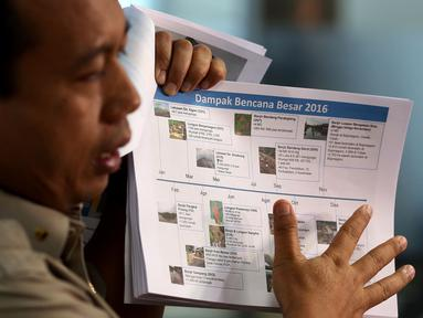Kepala Pusat Data Informasi dan Humas BNPB, Sutopo Purwo Nugroho saat memberikan keterangan pers di Kantor BNPB, Jakarta. Kamis (29/12). Keterangan persnya terkait Evaluasi Penanggulangan Bencana 2016 dan Prediksi Bencana 2017. (Liputan6.com/Johan Tallo)