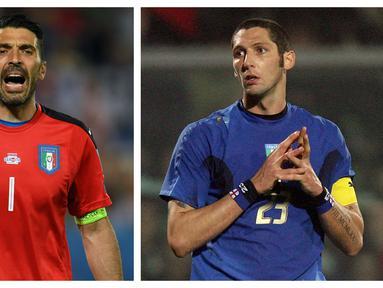Dalam tiap edisi Piala Eropa, Timnas Italia selalu menjadi tim favorit berkat kualitas para pemain di dalamnya. Tak terkecuali para pemain gaek yang menjadi panutan para pemain muda. Berikut barisan pemain tertua Gli Azzurri sepanjang sejarah gelaran Euro. (Kolase Foto AFP)