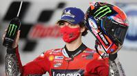 Pembalap Ducati Lenovo, Francesco Bagnaia rebut podium tiga di MotoGP Qatar (Karim Jaafar/AFP)