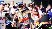 Pebalap Repsol Honda, Marc Marquez, menempati posisi kedua pada sesi kualifikasi MotoGP Jepang di Twin Ring Motegi, Jepang, Sabtu (15/10/2016). (Crash)