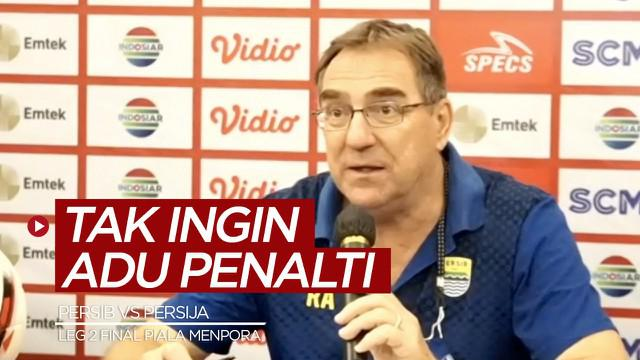 Berita video Pelatih Persib Bandung, Robert Rene Alberts, mengatakan tidak ingin memenangi laga leg 2 Final Piala Menpora 2021 kontra Persija Jakarta dengan adu penalti.
