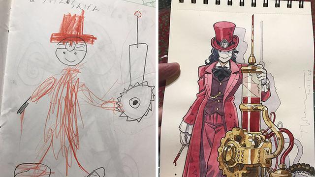 Bikin Takjub Pria Ini Ubah Coretan Sang Anak Jadi Gambar Animasi