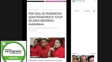 CEK FAKTA - Screenshot akun Facebook yang mengunggah foto dari suatu blog soal usulan penutupan pesantren