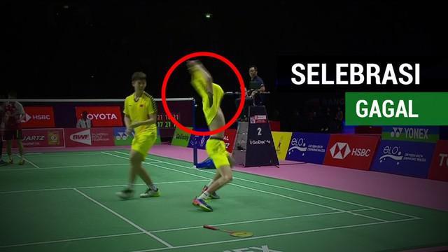 Berita video mengenai selebrasi gagal Li Junhui, pebulu tangkis China saat kalahkan pasangan Indonesia pada laga semifinalPiala Thomas 2018.