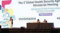 Menteri Kesehatan Republik Indonesia, Nila Farid Moeloek  mengatakan di tingkat global, tidak ada satupun negara yang bebas dari ancaman permasalahan kesehatan. (Foto: Liputan6.com/Aditya Eka Prawira)