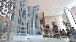 Maket apartemen The Elements diperlihatkan saat penandatangan kerjasama antara PT BSD dengan PT BNI, di Jakarta (4/3). Kerjasama tersebut terkait pembiayaan dan perkereditan apartemen  The Elements dengan menggunakan BNI. (Liputan6.com/Angga Yuniar)