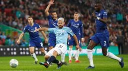 2. Sergio Aguero (Manchester City) - Ketajaman Aguero menjadi jaminan semenjak berlabuh ke Etihad Stadium pada 2011. Sejauh ini, Aguero telah ia telah mencetak 231 gol dari 338 pertandingan bersama Man City.  (AFP/Adrian Dennis)