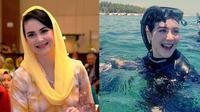 Momen Arumi Bacshin menyelam di Pulau Gili bareng ibu-ibu ketua Kabupaten Madura seusai rapat PKK. (Sumber: Instagram/@arumi_arumi_94/@gililabak.id)