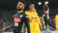 Ekspresi pemain Napoli, Lorenzo Insigne usai timnya kalah dari Juventus pada lanjutan Serie A Italia di San Paolo stadium, Naples, (1/12/2017). Juventus menang 1-0 atas Napoli. (Cesare Abbate/ANSA via AP)