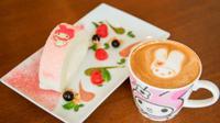 Dua karakter kartun kembar, Kiki dan Lala dari Sanrio hadir pada menu makanan yang ada di My Melody pop-up Cafe.