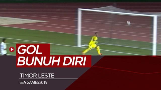 Berita video momen pemain Timor Leste mencetak gol bunuh diri indah saat menghadapi Malaysia di Grup A cabang sepak bola putra SEA Games 2019.