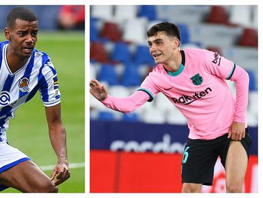 Kompetisi Liga Spanyol 2020/2021 telah usai dengan hadirnya Atletico Madrid sebagai kampiun. Hadirnya para pemain muda dengan talenta impresif juga menjadi warna tersendiri musim in. Berikut 5 pemain muda yang tampil impresif bersama timnya musim ini. (Kolase Foto AFP)