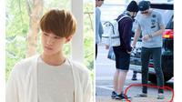 Sehun, salah satu anggota boyband EXO terlihat mengenakan sandal jepit bertali hijau saat berada di Bandara Soekarno Hatta.