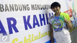 Pevoli putri Jawa Barat, Yolla Yuliana berpose usai mengalahkan Jawa Timur pada laga final PON XIX di Gelora Sabilulungan Si Jalak Harupat, Kab Bandung, Rabu (28/9). Jawa Barat unggul tiga set 25-16, 25-17, 25-21. (Liputan6.com/Helmi Fithriansyah)