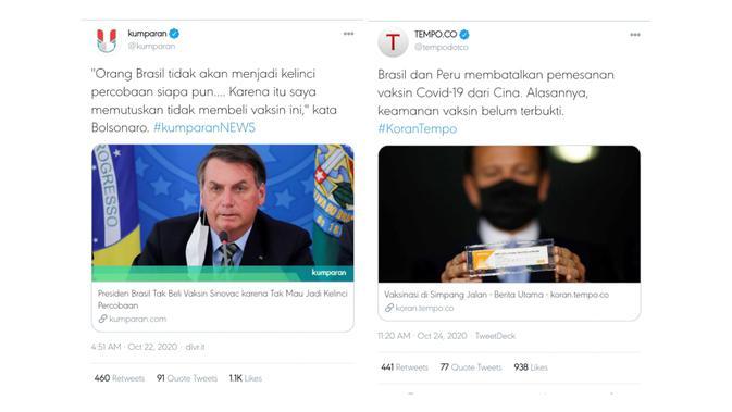 Twit dari akun Twitter Kumparan dan Tempo tentang Brasil yang membatalkan pesanan vaksin dari Covid-19.