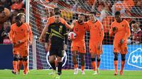 Timnas Belanda menang enam gol tanpa balas atas Gibraltar pada laga kedelapan Grup G kualifikasi Piala Dunia 2022 zona Eropa di De Kuip, Rotterdam, Selasa (12/10/2021) dini hari WIB. (AFP/John Thys)