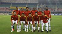 Timnas Indonesia saat melakoni laga uji coba internasional kontra Myanmar di Stadion Mandalathiri, Mandalay, Myanmar, Senin (25/3/2019). Timnas Indonesia menang 2-0 dalam laga ini. (FA Myanmar)