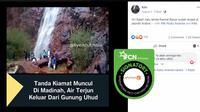 Cek Fakta - Air terjun di Gunung Uhud pertanda kiamat? (Facebook)