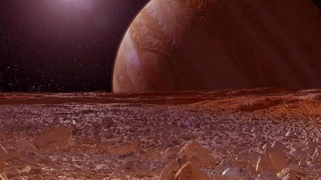 Ilustrasi permukaan bulan Europa di Jupiter. (Sumber Jet Propulsion Laboratory NASA/Caltech)