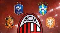 Ilustrasi Logo AC Milan dan Logo federasi Spanyol, Prancis, Brasil, Belanda (Bola.com/Adreanus Titus)