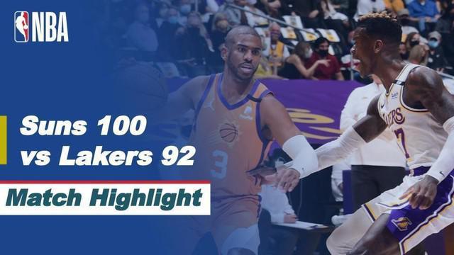 Berita video highlights game 4 babak awal wilayah barat NBA Playoffs 2021 antara LA Lakers melawan Phoenix Suns yang berakhir dengan skor 92-100, Senin (31/5/2021) pagi hari WIB.