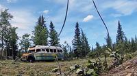 Bus ikonis dari film Into the Wild diangkut dari Alaska, 18 Juni 2020. (SETH LACOUNT / ALASKA ARMY NATIONAL GUARD / AFP)