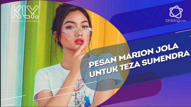 Marion Jola mengirimkan pesan untuk Teza  Sumendra agar bersedia berkolaborasi dengan dirinya.