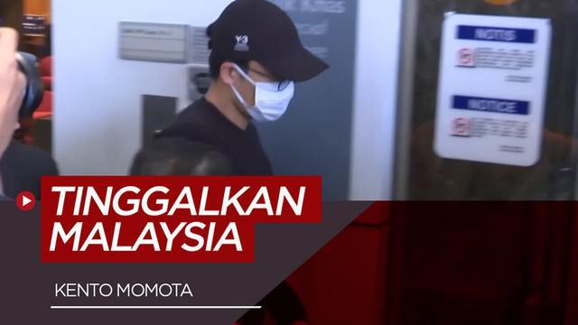 Berita video Kento Momota meninggalkan bandara Internasional Kuala Lumpur pada rabu pagi dengan pengawalan ketat