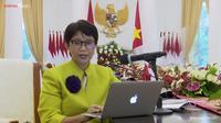 Menlu Retno Marsudi dalam press briefing dengan awak media menjelang pertemuan pemimpin ASEAN pada Sabtu (24/4/2021). (Screenshot Youtube Sekretariat Presiden)