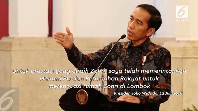 Lalu Muhamad Zohri membuat warga Indonesia bangga dengan kemenangannya di kejuaraan dunia junior. Presiden Jokowi memberikan apresiasi dengan renovasi rumah Zohri di Lombok, NTB.