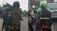 6 Kelakuan Cewek saat Pakai Helm di Jalan Ini Kocak (sumber: Instagram.com/awreceh.id dan Instagram/dramaojol.id)