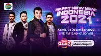 Konser Happy New Year Indonesia 2021, Kamis (31/12/2020) pukul 19.00 WIB dapat disaksikan streaming melalui kanal Indosiar yang ada di platform Vidio. (Dok. Vidio)