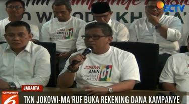 Rekening bank atas nama TKN Jokowi - Ma'ruf Amin dibuka di Bank BRI cabang Menteng, Jakarta Pusat.