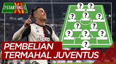 Berita motion grafis Starting XI pemain termahal Juventus sepanjang masa, Cristiano Ronaldo teratas.