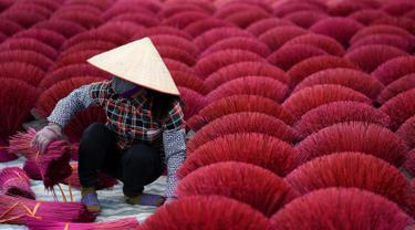 Wanita Vietnam  mengeringkan kulit bambu untuk membuat batang dupa di halaman, desa Quang Phu Cau di pinggiran Hanoi, 3 Januari 2019. Desa itu telah terkenal karena tiap keluarga bekerja sebagai pembuat dupa selama lebih dari seabad (Manan VATSYAYANA/AFP)