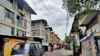 Salah satu sudut Rumah susun (Rusun) 26 Ilir Palembang Sumsel di sore hari (Liputan6.com / Nefri Inge)