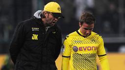 Gelandang asal Jerman, Mario Gotze, merupakan pemain yang diorbitkan Jurgen Klopp ketika masih sama-sama berada di Borussia Dortmund dari 2009 hingga 2013. (AFP/Patrik Stollarz)