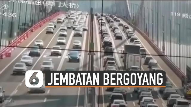 Fenomena unik terjadi di jembatan guangdong. Jembatan ini bergoyang beberapa detik dan sempat menimbulkan kepanikan masyarakat yang sedang melintas.