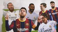 Sergio Ramos, Lionel Messi, Karim Benzema, Antoine Griezmann, Lika Modric dan Gerard Pique. (Bola.com/Dody Iryawan)