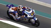 Pembalap Pertamina Mandalika SAG Team Bo Bendsneyder beraksi pada sesi latihan bebas Moto2 Qatar di Losail International Circuit, Jumat (26/3/2021). (Dok Pertamina Mandalika Team)