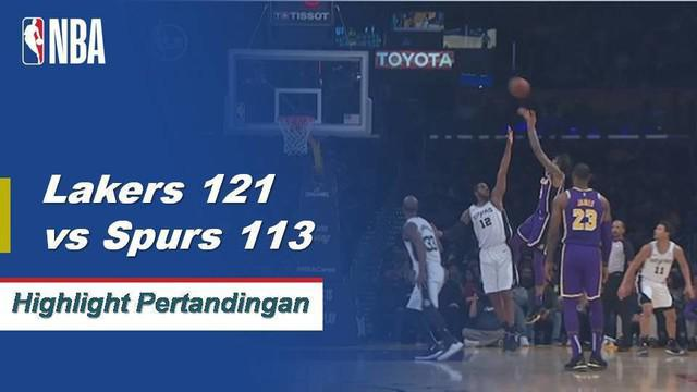 LeBron James berakhir dengan 42 poin, lima rebound dan enam assist saat Lakers mendapatkan kemenangan pertama mereka musim ini atas Spurs, 121-113