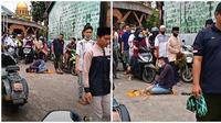 Viral seorang pria salat di tengah jalan saat Jumatan, aksi warga sekitar disorot. (Sumber: TikTok/@nabila09108)